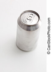 High angle view of a closed can against a white background