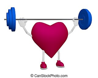 Heart health training weight sport concept on white...
