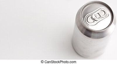 High angle  horizontal view of a closed aluminium can