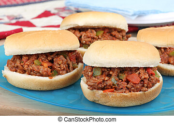Sloppy Joes - Sloppy joes on buns on a platter