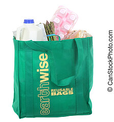 Reusable Grocery Bag - Reusable green grocery bag with...
