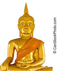 Statue of Buddha on white background