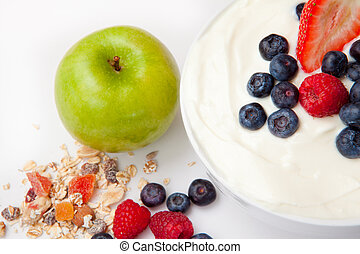 Healthy eating against a white background