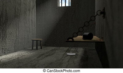 Prison cell scene - a panning shot of a jail cell with a...