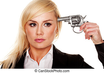 Woman holding a gun to her head
