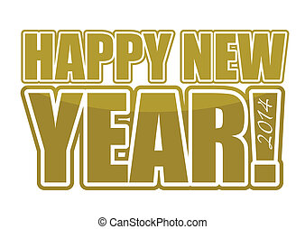 Gold Happy New Year 2014 sign illustration design