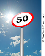 Speed limit sign. - Illustration depicting a speed limit...