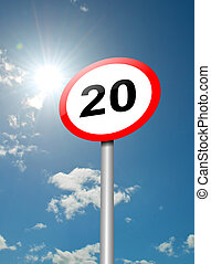 Speed limit sign - Illustration depicting a speed limit road...