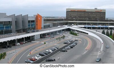 Cars leave and come to terminal E, F on Sheremetyevo...