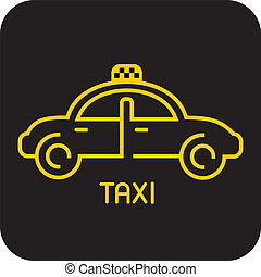 Taxi icon - Taxi - isolated vector icon. Yellow car on black...