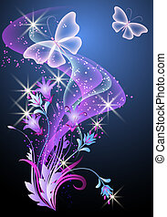 Smoke, flowers and butterfly - Glowing background with...