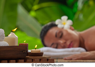 spa - portrait of young beautiful woman in spa environment....