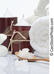 spa theme - Close up view of spa theme objects on white...