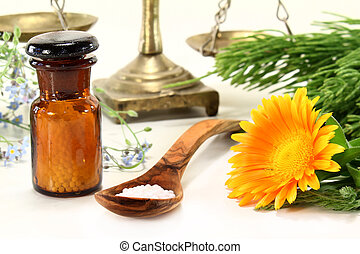 Naturopathy - fresh medicinal herbs and globules on a light...