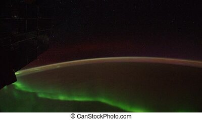Polar lights from window of shuttle - NASA - SEP 18: Polar...