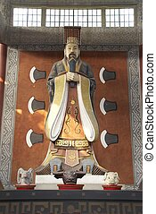 Statue of Yu the Great Da Yu Da Y in The Yu mausoleum, China...