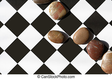Chess Abstract - Strategy concept. Few stones lying in a row...