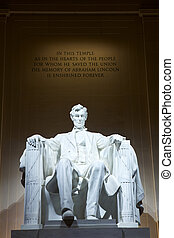Statue of Abraham Lincoln at the Lincoln Memorial,...