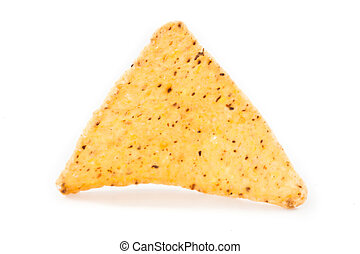 Single triangular crisps against white background