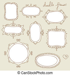 Doodle frame collection - Set of handdrawn, vintage frames