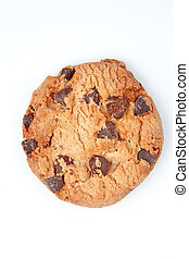 Extreme close up of a cookie against a white background