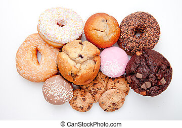Choice of pastry against a white background