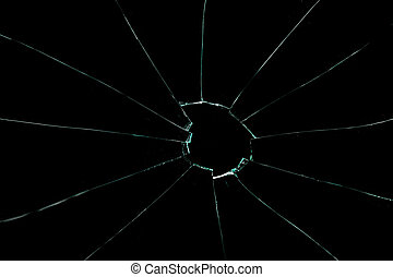 Crackled glass against a black background