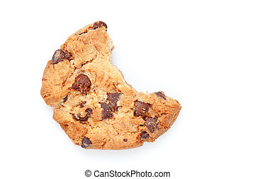 Close up of a cookie with a big part missing