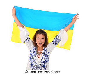 Ukrainian fan - A picture of a happy Ukrainian female fan...