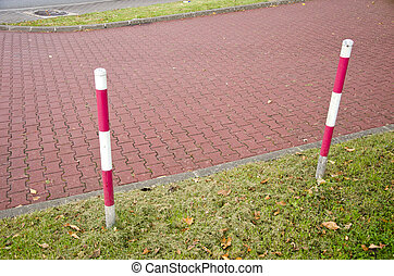 tiled park lane and protective barrier stakes
