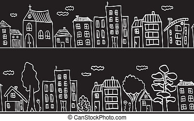 Illustration of houses and buildings - seamless pattern -...