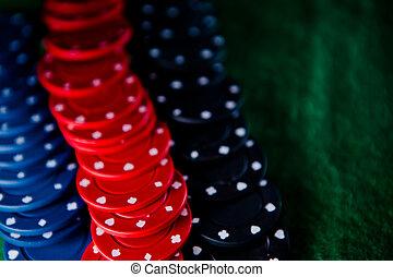 Heap of  poker chips