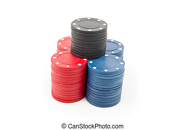 Pyramid of poker coins against a white background