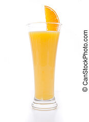Orange slice on a full glass