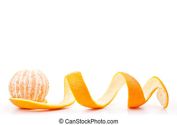 Orange posed on a orange peel