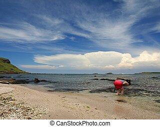 Girl on the beach of Wang-an in Peng Hu, Taiwan