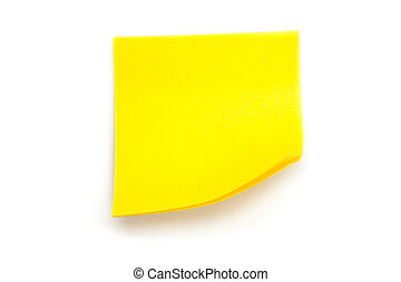 Yellow adhesive note against a white background