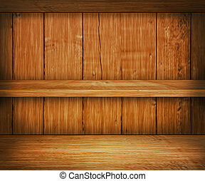Oak Wooden Shelf Background