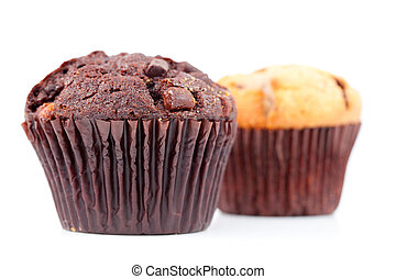 Fresh baked muffins side by side against a white background