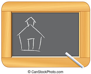 Schoolhouse Drawing on Blackboard - Blackboard with wood...