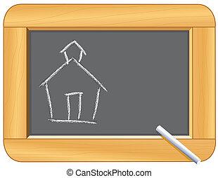 Schoolhouse Drawing on Blackboard