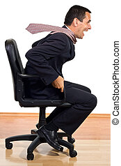 Rolling businessman - Businessman rolling on an office chair...