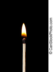 Vertical match on fire against a black background