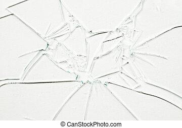 Many broken glasses against a white background