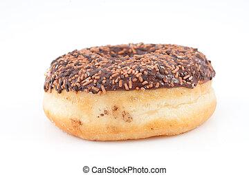 Chocolate doughnut with icing sugar