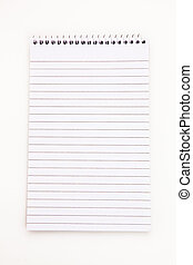 Empty notepad sheet against white background