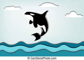 Orca - Orcinus orca Killer whale jumping high, eps10 vector