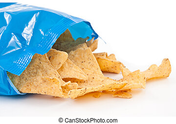 Open bag with fallen tacos against white background
