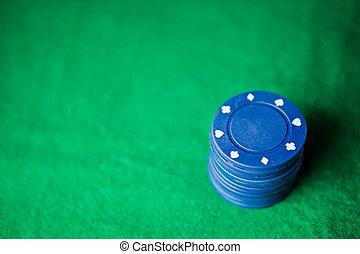 Blue poker chips