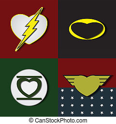 Superlove heroes - Superhero shields shaped like hearts,...